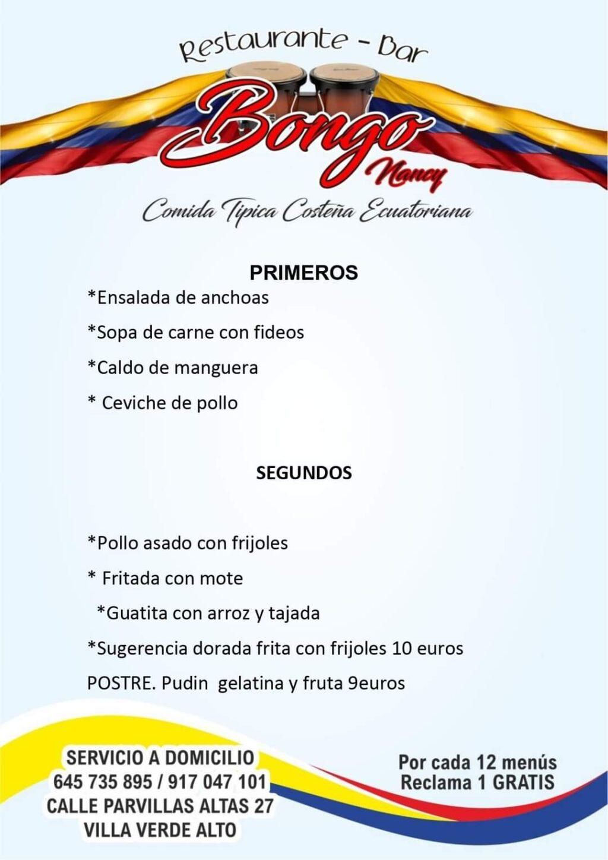 "Menú ""bongo nancy"""