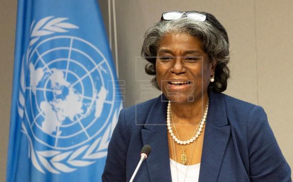La embajadora de EE.UU. ante la ONU, Linda Thomas-Greenfield, habla durante una conferencia de prensa, este 1 de marzo de 2021, en Nueva York.